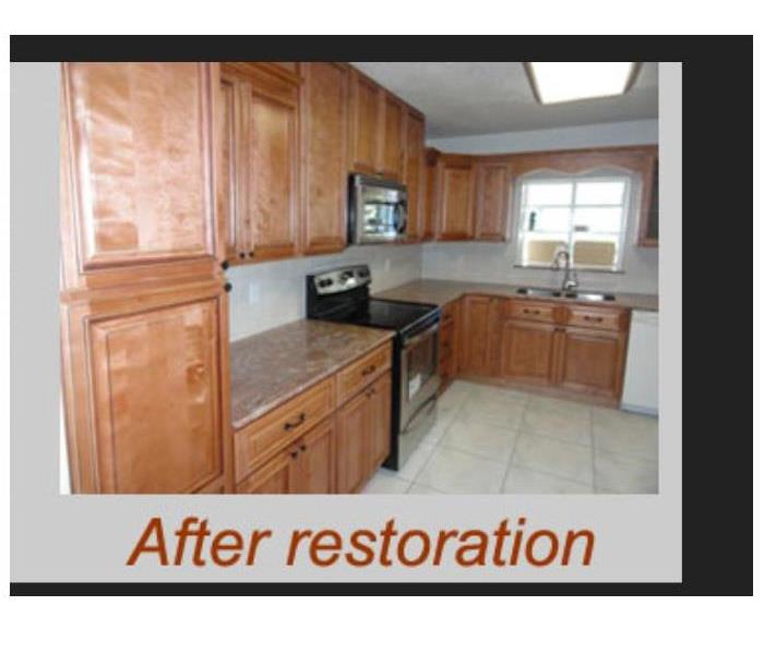 Kitchen restored from smoke & soot damage