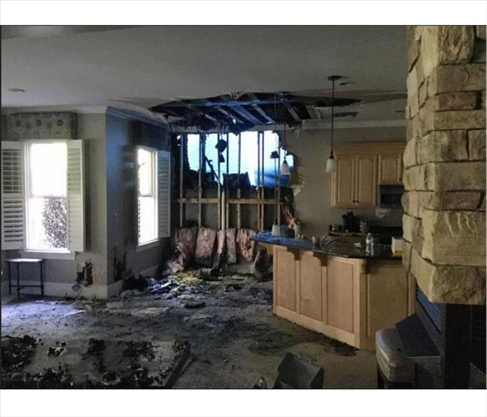 Dining & kitchen are damaged from fire
